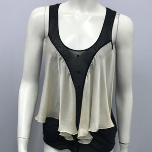 Chloe Flowy Black & Off White Top SZ XS